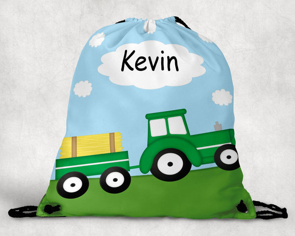 Tractor Green Personalized Drawstring Bag