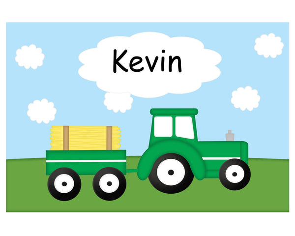 Tractor Green Kids Plate