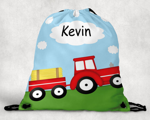 Tractor Red Personalized Drawstring Bag