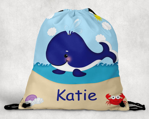 Whale Blue Personalized Drawstring Bag