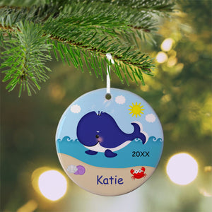 Whale Blue Christmas Ornament