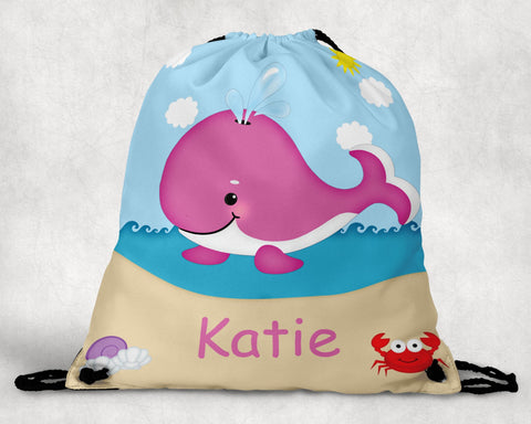 Whale Pink Personalized Drawstring Bag