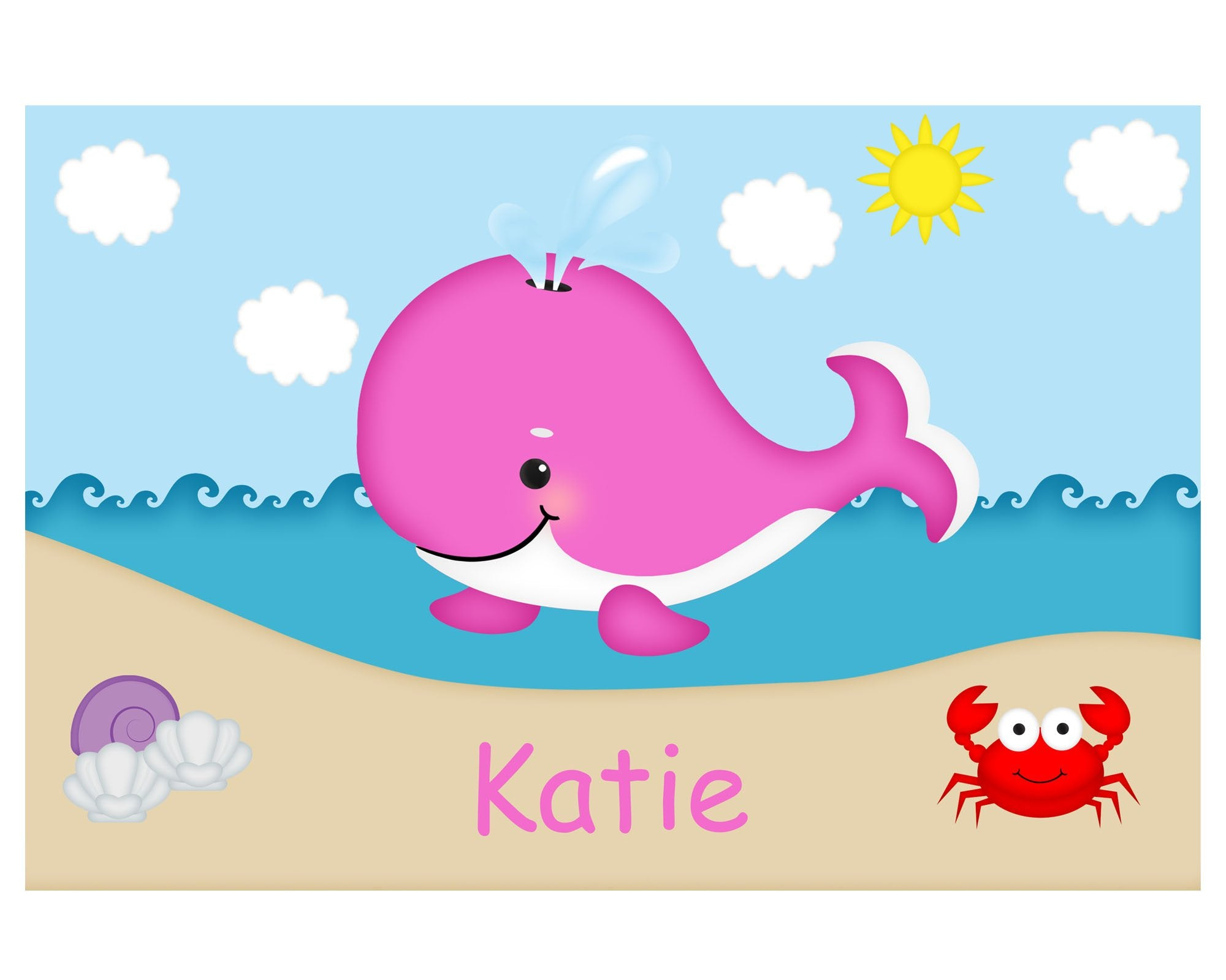 Whale Pink Kids Placemat
