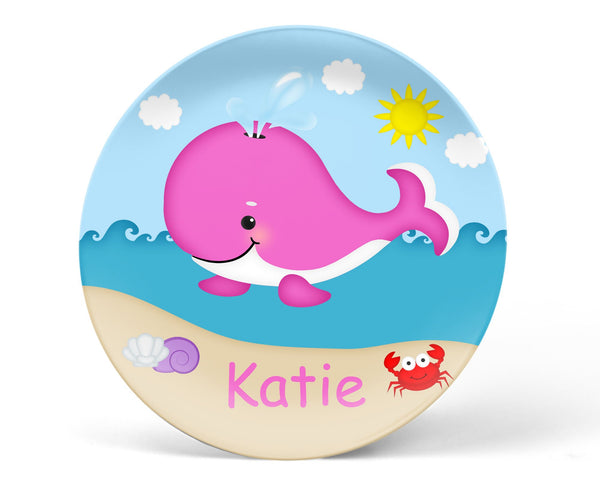 Whale Pink Kids Plate