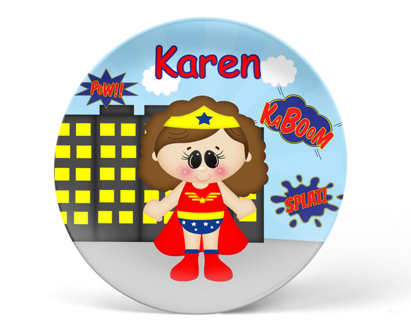 Wonder Women Super Hero Kids Plate