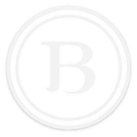 """B"" Sticker (3"", White, Clear Border)"