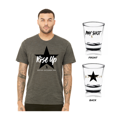 """Rise Up"" T-Shirt + ""My Shot"" Shot Glass Bundle"