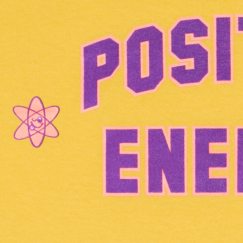 POSITIVE ENERGY TEE - YELLOW by Blake Anderson's clothing brand Teenage aka Bored Teenager - Detail