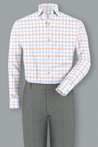 Light Blue, Pink & Tangerine Windowpane
