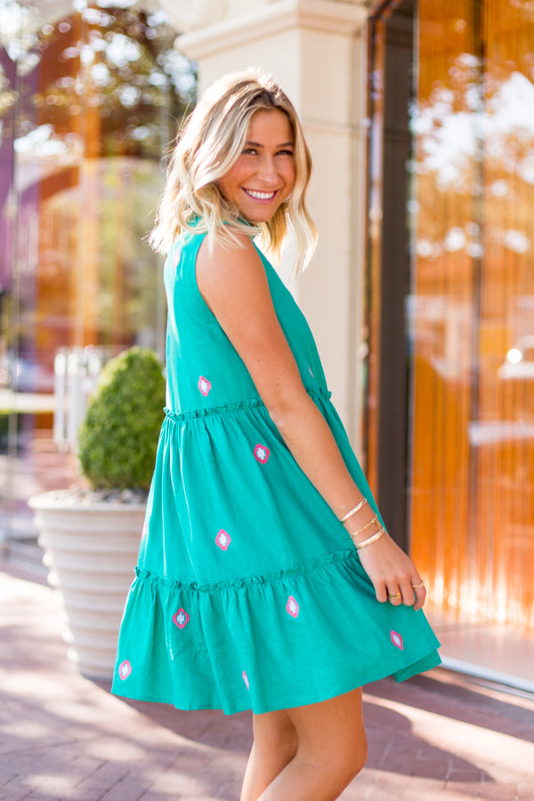The Evelyn Dress - Teal