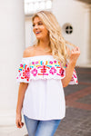 The Mckenna Off The Shoulder Top - White