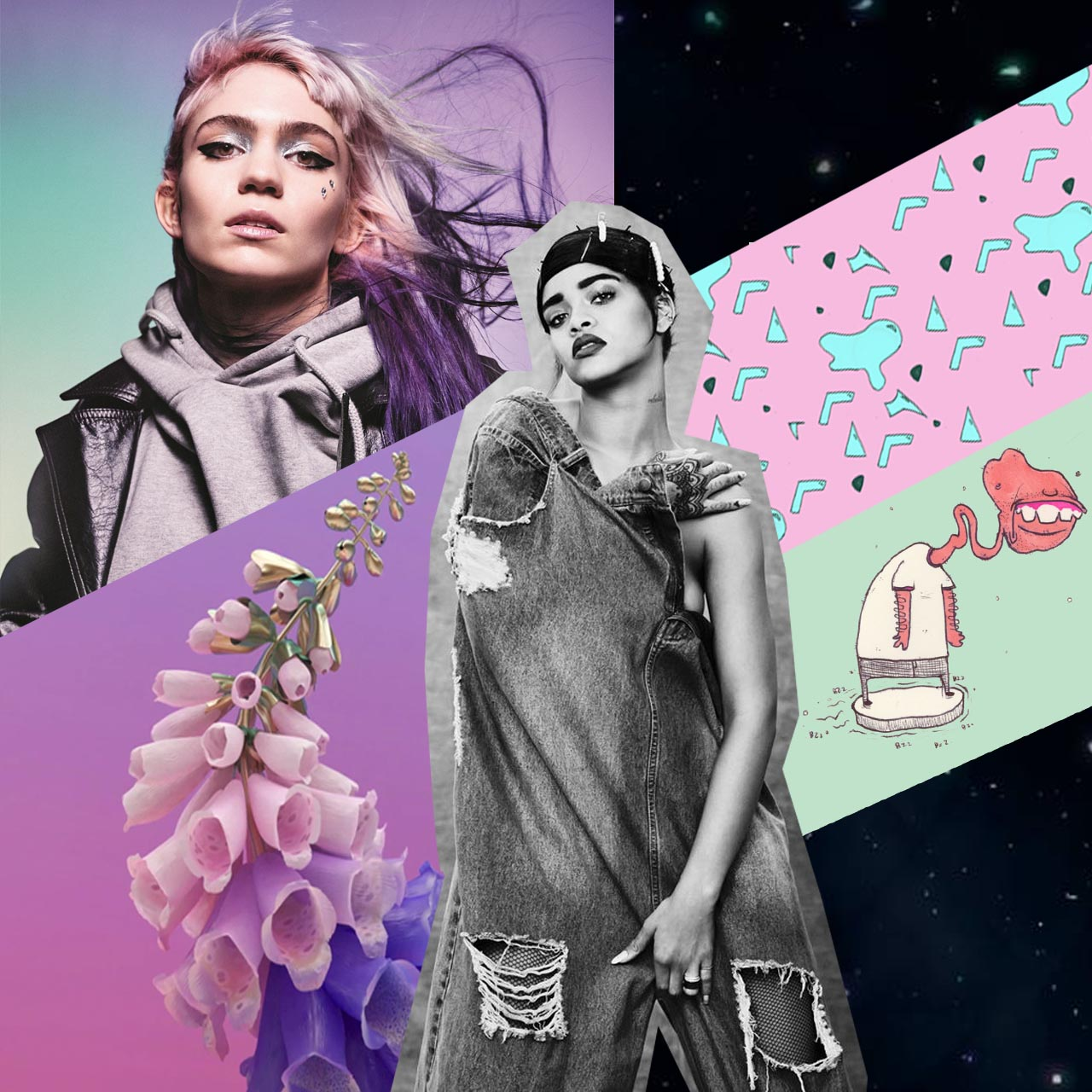 grimes, rihanna, m83, music, fashion, hub clothing, flume