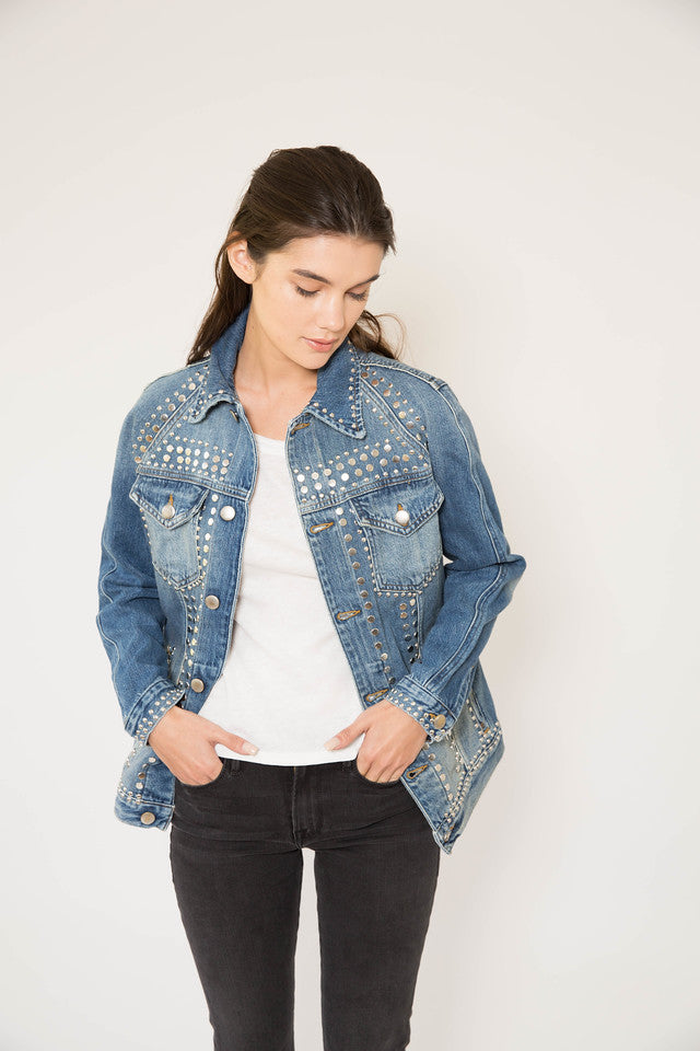 FRAME Le Studded Jacket in Gelder