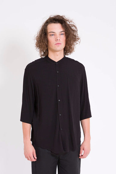 Assembly Non Collar Black Crepe Shirt