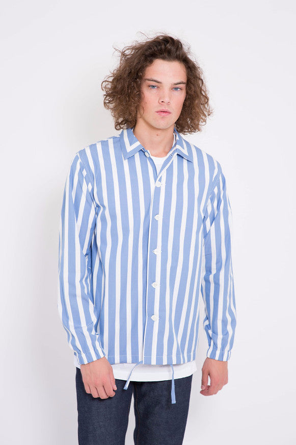 Maiden Noir Stripe Coach Shirt Blue