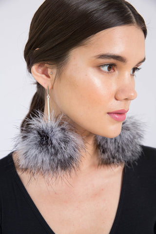 Tuleste Black and White Marabou Striped Pom Pom Earrings