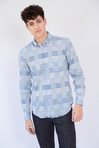 Naked and Famous Striped Windowpane Regular Shirt