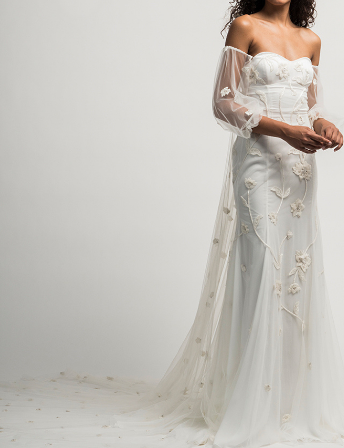 Seraphina Gown with Sleeves and Train