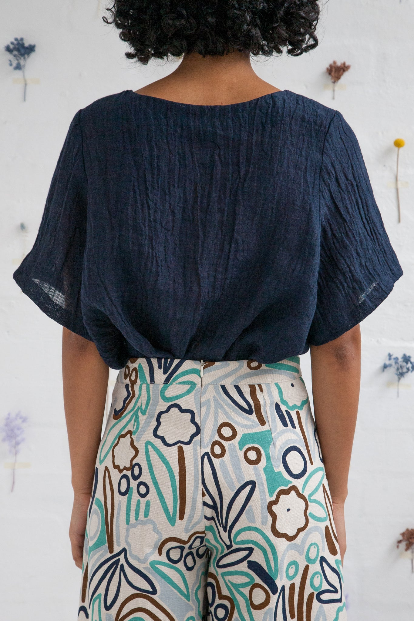 Flow Top - Crushed linen, navy