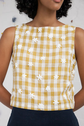 Sleeveless top - Chartreuse gingham + daisy puffs (made to order)