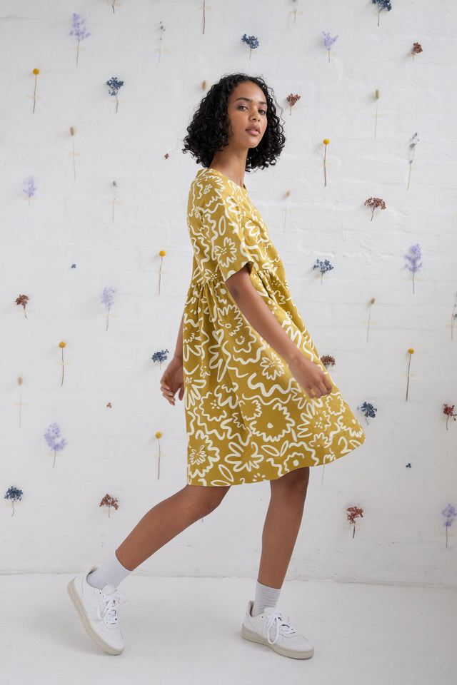 Smock dress - Daisy Field, Chartreuse