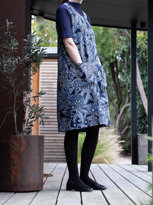 Denim Pinafore, Navy & Blue