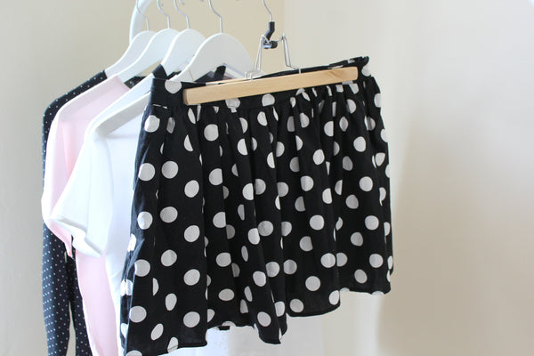 vintage polkadot mini skirt