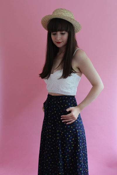vintage tropical midi skirt