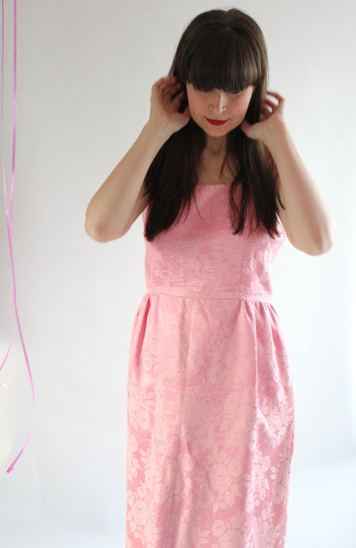 vintage blushing pink peonies dress