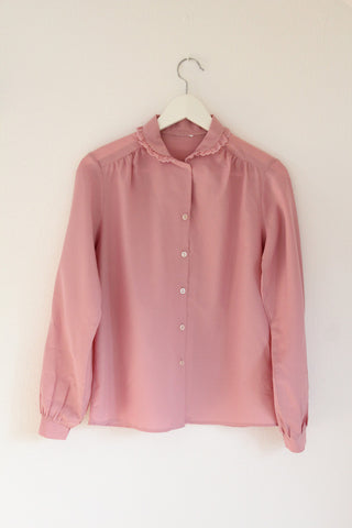 vintage dusty pink ruffle blouse