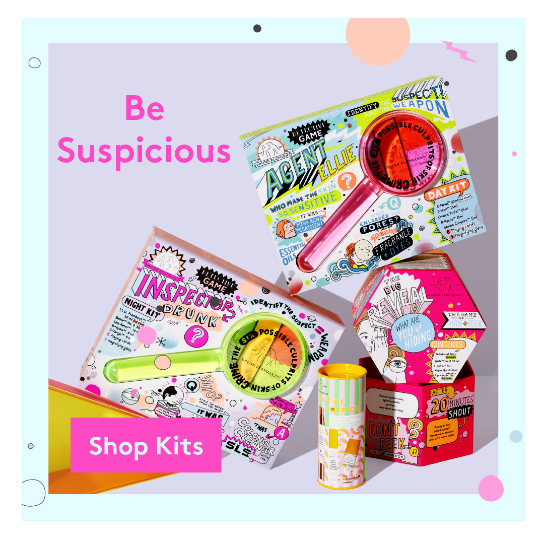 Drunk Elephant Holiday Sets including Agent Ellie Day Kit, Inspector Drunks Night Kit, Babyfacial kit and D-Bronzi Kit