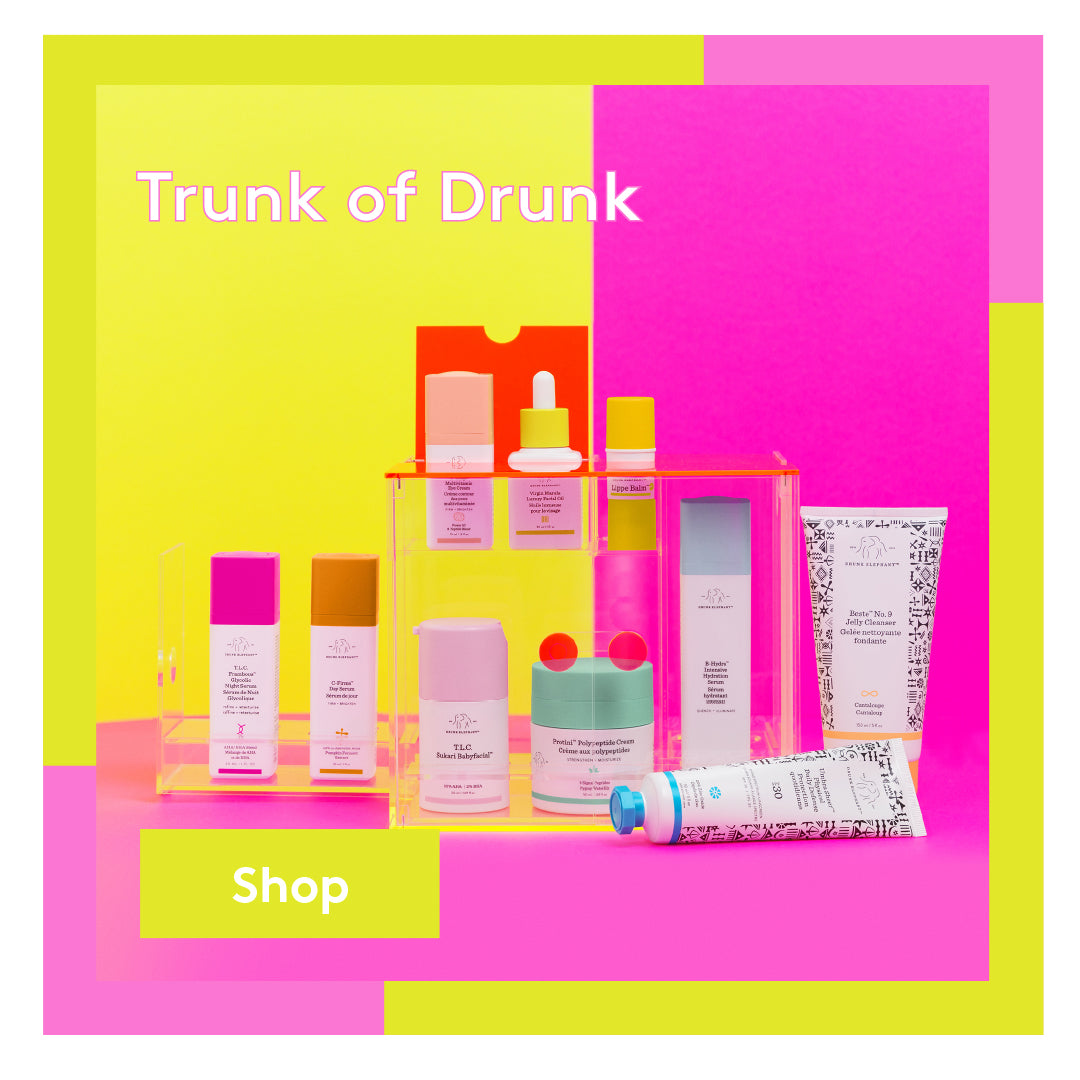 The Trunk featuring Drunk Elephant's top-selling moisturizers, serums, cleansers, masks and more.