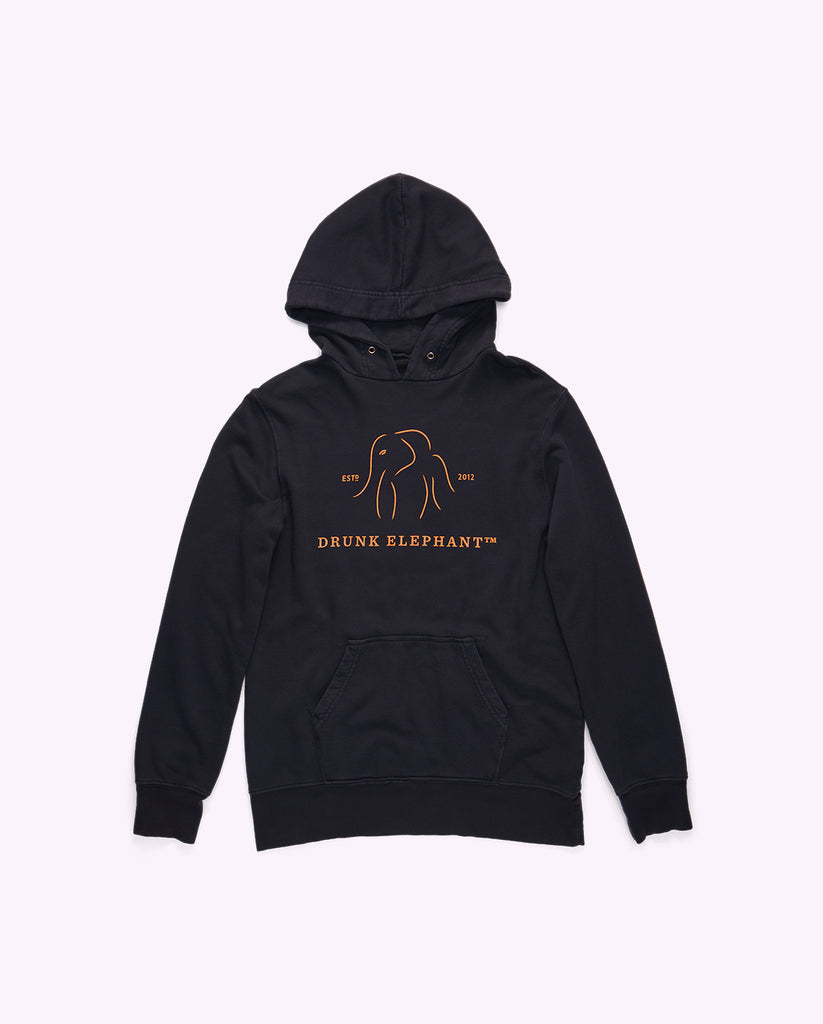 dark gray cotton hoodie front with the drunk elephant logo in neon orange