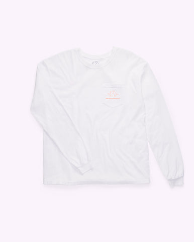 white long-sleeved cotton shirt with Drunk Elephant logo in orange on the upper-left front