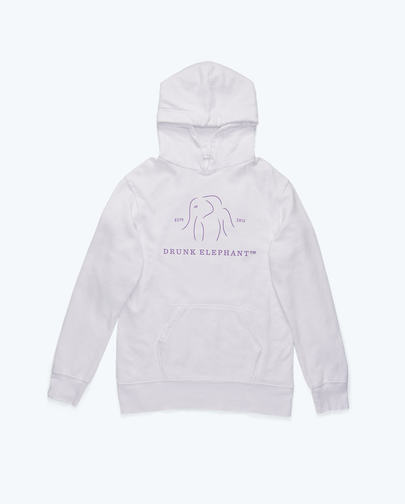 white cotton hoodie with the drunk elephant logo on the front in light purple