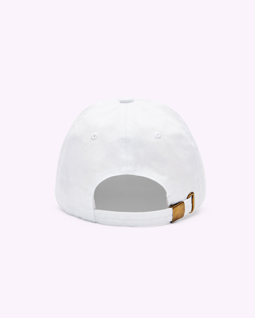 rear view of a white Drunk Elephant baseball cap against a light pink background