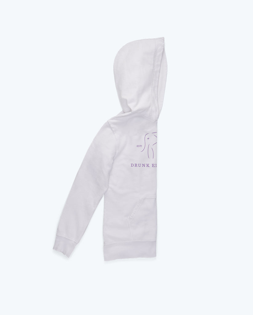 white cotton hoodie folded in half lengthwise with half the drunk elephant logo in light purple showing