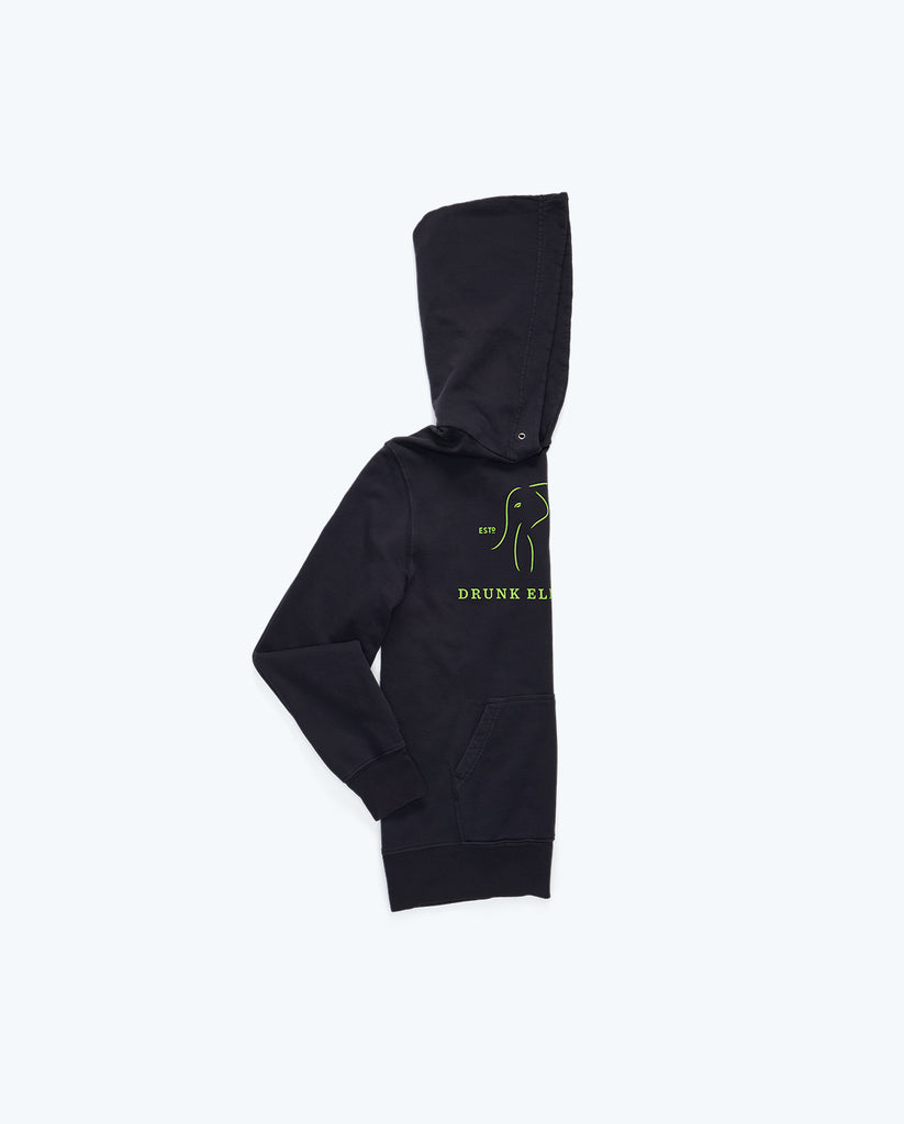 dark gray cotton hoodie folded in half lengthwise with half the drunk elephant logo showing in neon yellow