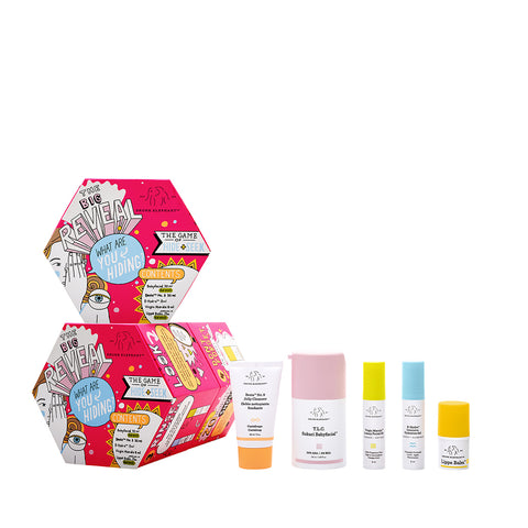 The Big Reveal Drunk Elephant Holiday Kit featuring a full-sized Babyfacial Resurfacing mask and Lippe Lip Balm, plu sminis of Beste Jelly Cleanser, Marula Oil and B-Hydra Hydrating Serum