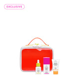 neon orange zippered dopp kit with Marula Oil, TLC Framboos Glycolic Night Serum and Beste number 9 products in front