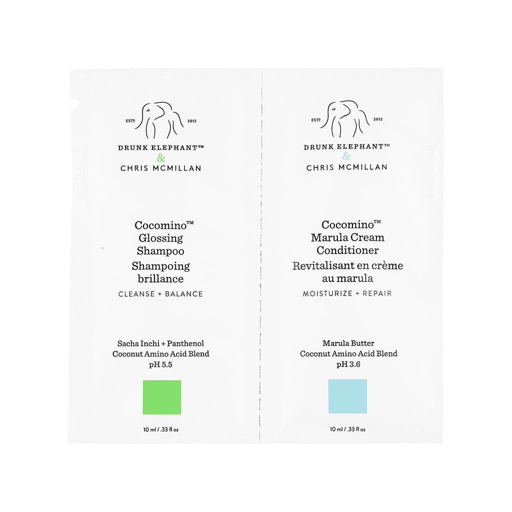 Cocomino™ Glossing Shampoo + Cocomino™ Marula Cream Conditioner Sample Duo