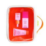 neon orange dopp kit on its side with Marula Oil, TLC Framboos Glycolic Night Serum and Beste number 9 displayed inside