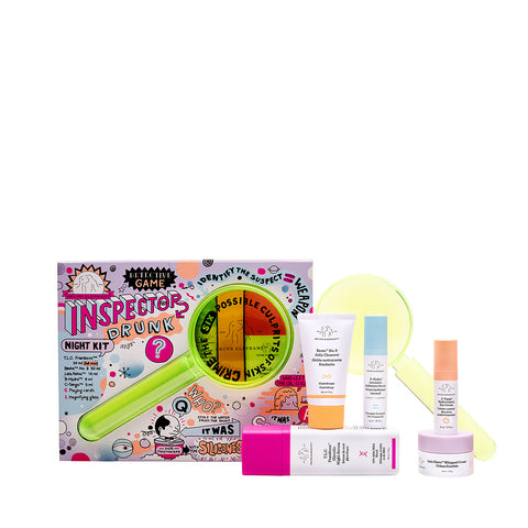 Inspector Drunk Night Kit, Drunk Elephant Holiday Kit featuring TLC Framboos Glycolic Night Serum, Beste No 9 Jelly Cleanser, C-Tango Multivitamin Eye Cream, Lala Retro Moisturizer and B Hydra Hydrating Serum