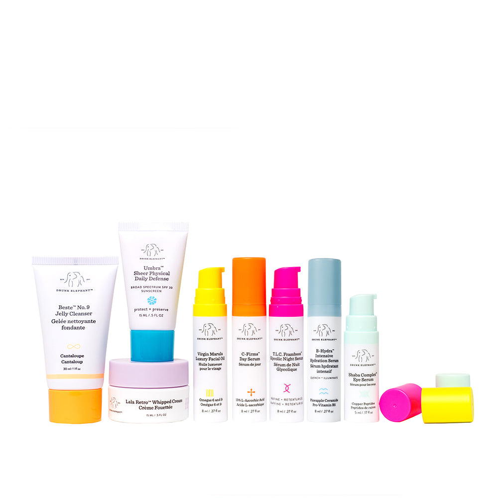 Content of the Littles Kit featuring Beste No 9, Umbra Sheer, Lala Retro, Marula Oil, C Firma, TLC Framboos, B-Hydra and Shaba Eye Serum