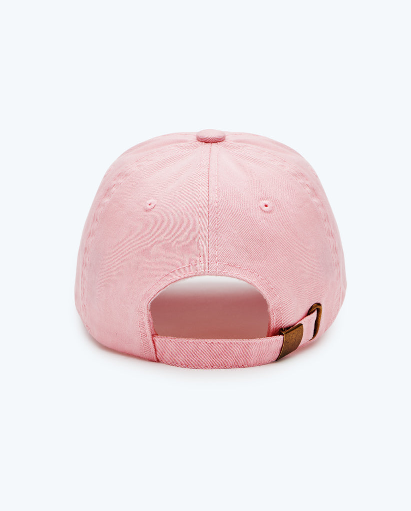 rear view of Pink Drunk Elephant baseball cap against a light pink background