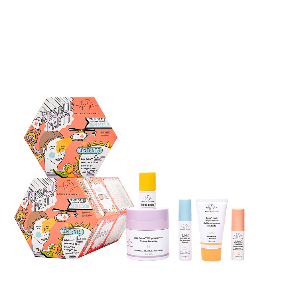 Rescue Party Drunk Elephant Holiday Kit featuring a full-size of Lala Retro Whipped Cream Moisturizer and Lippe Lip Balm plus minis of B-Hydra Hydration Serum, Beste No 9 Jelly Cleanser and C-Tango Eye Cream