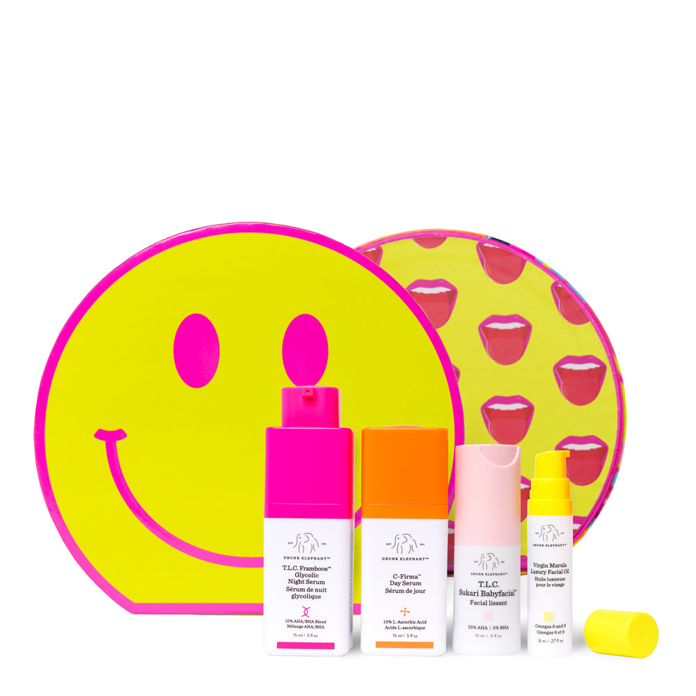 Acid Trip Kit by Drunk Elephant showing products and the front and back of the smiley face box