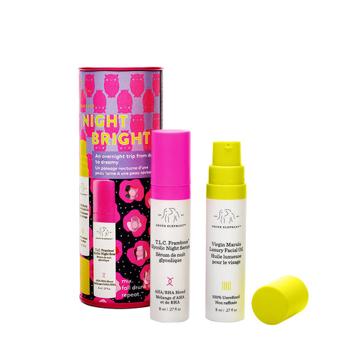 NightBright Duo featuring Mini Sizes of TLC Framboos Glycolic Night Serum and Virgin Marula Luxury Facial Oil