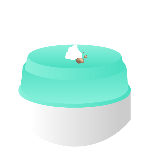 illustration of the pump top of a Protini container with a pump of Protini and a few drops of D-Bronzi on top