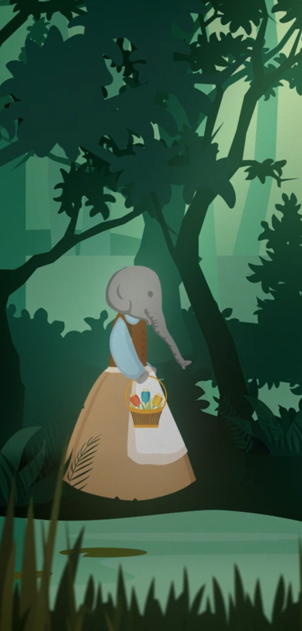 Ellie dressed as a princess looking for her frog to kiss. Walking through the dark forest.